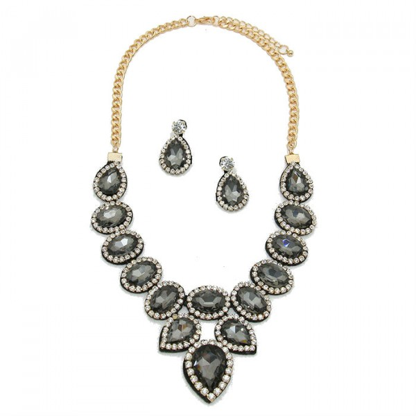 Smoky Grey Crystal Felt Back Bridal Necklace Set